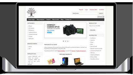 Laptop ze zdjęciem przykładowego tworzonego sklepu internetowego